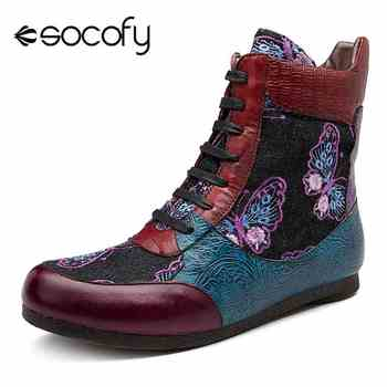 Socofy Splicing Genuine Leather Boots Women Shoes Woman Zipper Casual High Top Sneakers Vintage Winter Ankle Boots Botas Mujer - DISCOUNT ITEM  50% OFF All Category