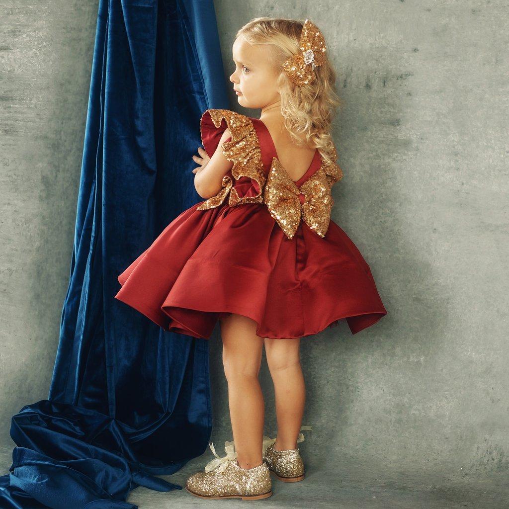 US Christmas Toddler Baby Girl Sequin Bowknot Dress Wedding Party Princess Dress
