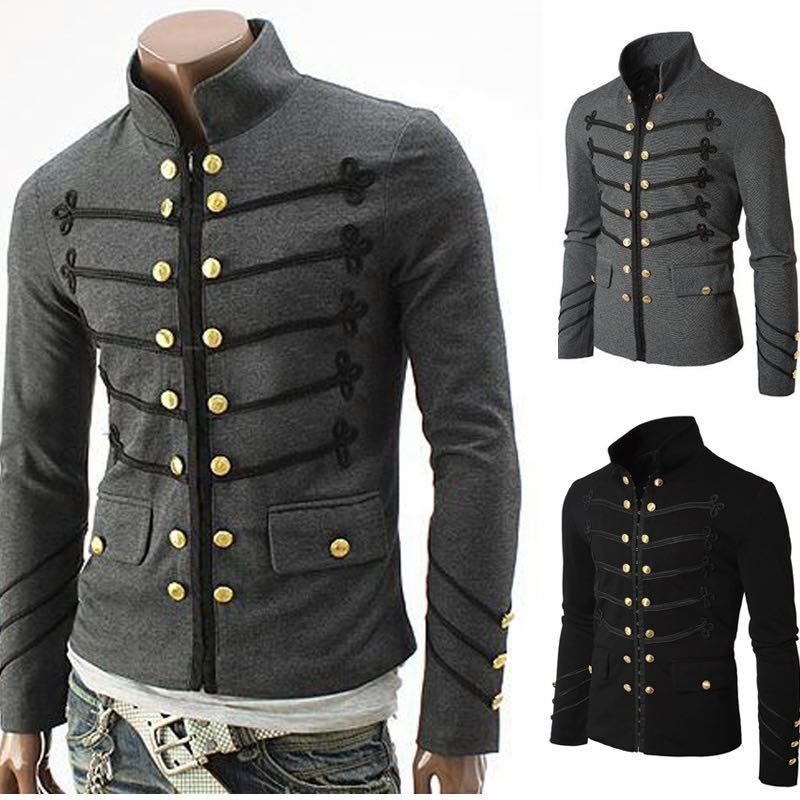 FDWERYNH Autumn Men's Coat Fashion Jacket Double Breasted Mbroidered Button Outwear Party Coat Noble Prince