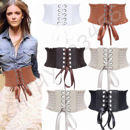 Women Fashion Punk Rivet Buckle Stretch Waistband Corset Wide Elastic Girdle