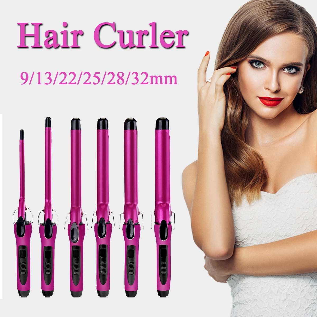 9/13/22/25/28/32mm Professional Hair Curling Iron Ceramic Hair Curler Quick Heat Curling Hair Waver Styling Tool 80~210 LED9/13/22/25/28/32mm Professional Hair Curling Iron Ceramic Hair Curler Quick Heat Curling Hair Waver Styling Tool 80~210 LED