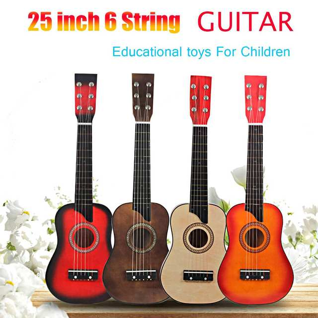 25 polegada 6 Cordas Da Guitarra Acústica de Madeira Instrumento Musical Brinquedo Brinquedo do Miúdo com Bolsa de Transporte para Crianças Educacional Dom Musical