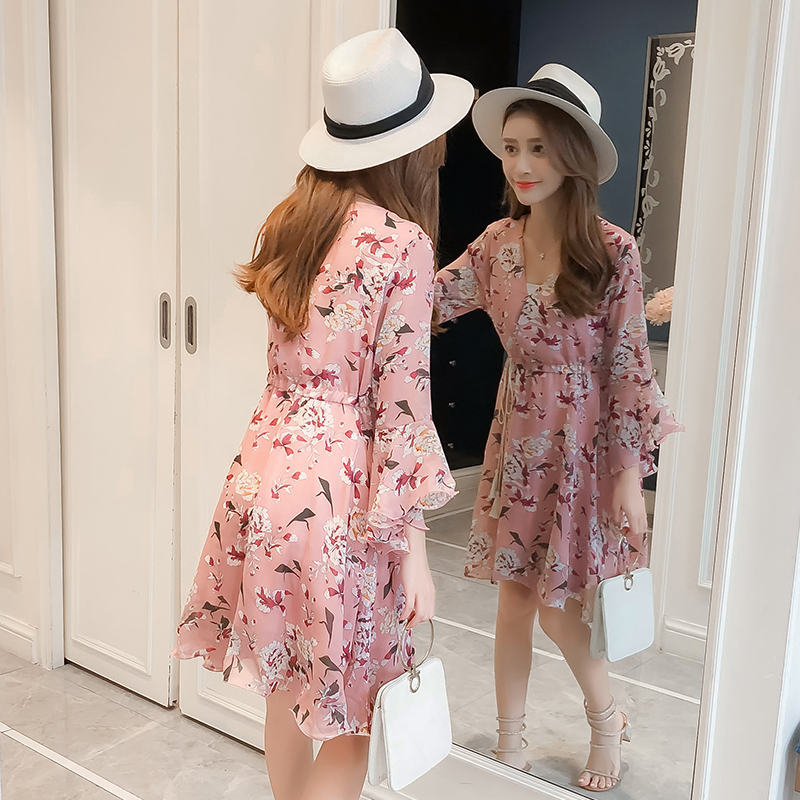 New Women dress Flare Sleeve Print Chiffon V-Neck Have A Waist Dresses Pink Blue 3332 4