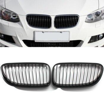 2 pcs Grills Preto Fosco Preto Fosco Grade Dianteira Rim para BMW E92 E93 3-Série LCI Face Lift 2DR 2010-2014