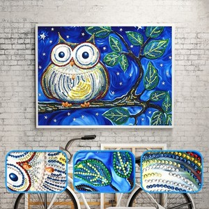 Huacan 5D Diamond Painting Special Shape Animal Owl Diamond Mosaic Kit Partial Diamond Embroidery Rhinestone Picture 25x35cm