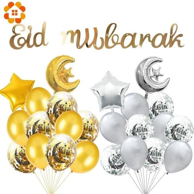 Juego de globos EID MUBARAK de helio dorado y plateado, globo de confeti para Bola de aire de EID musulmán, suministros de decoración para fiesta del Festival de Ramadán