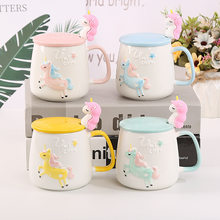 Rotating Wooden Horse Ceramics Coffee Mug Unicorn Student Gift Glass Can Originality Cup Drinkware With Cover And Spoon(China)