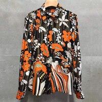 Модная Цветочная блузка для женщин 2019 брендовая Офисная Женская блузка с воротником Питер Пэн Высококачественная блузка для женщин