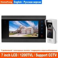 HomeFong Video Intercom For Home Door Phone With 7 Inch Indoor Monitor+1200TVL Camera Video Wired Door Video Interphone System