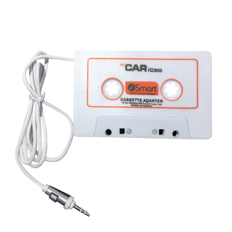Car Cassette Adapter 3.5 Mm Car Audio Cassette Adapter For Smart Phones, MP3, MP4, IPod, , DVD Player,White