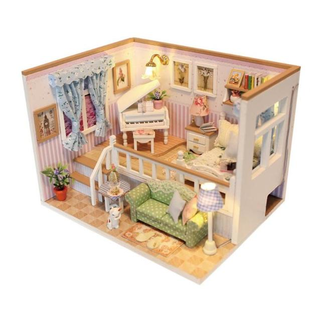 3D Wooden Craft Doll House Furniture DIY Miniature Dust Cover Dollhouse Toy