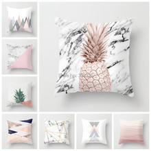 ZENGIA Pink Geometric Nordic Cushion Cover Tropic Pineapple Throw Pillow Cover Polyester Cushion Case Sofa Bed Decorative Pillow(China)