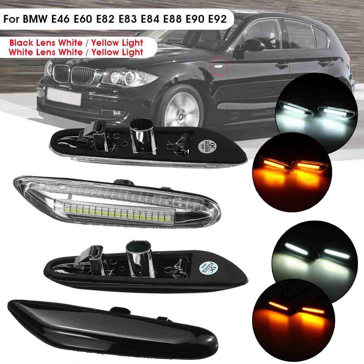 Black Pair Dynamic Side Marker Indicator Lights for B-MW E46 E60 E82 E88 E90 E92 E93