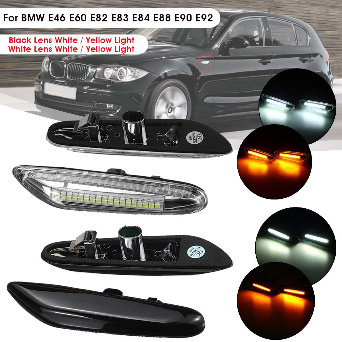 2pcs Car LED Side Marker Lights Repeater Turn Signal Indicator Lamp for BMW  E46 E60 E82 E88 E90 E92 E93