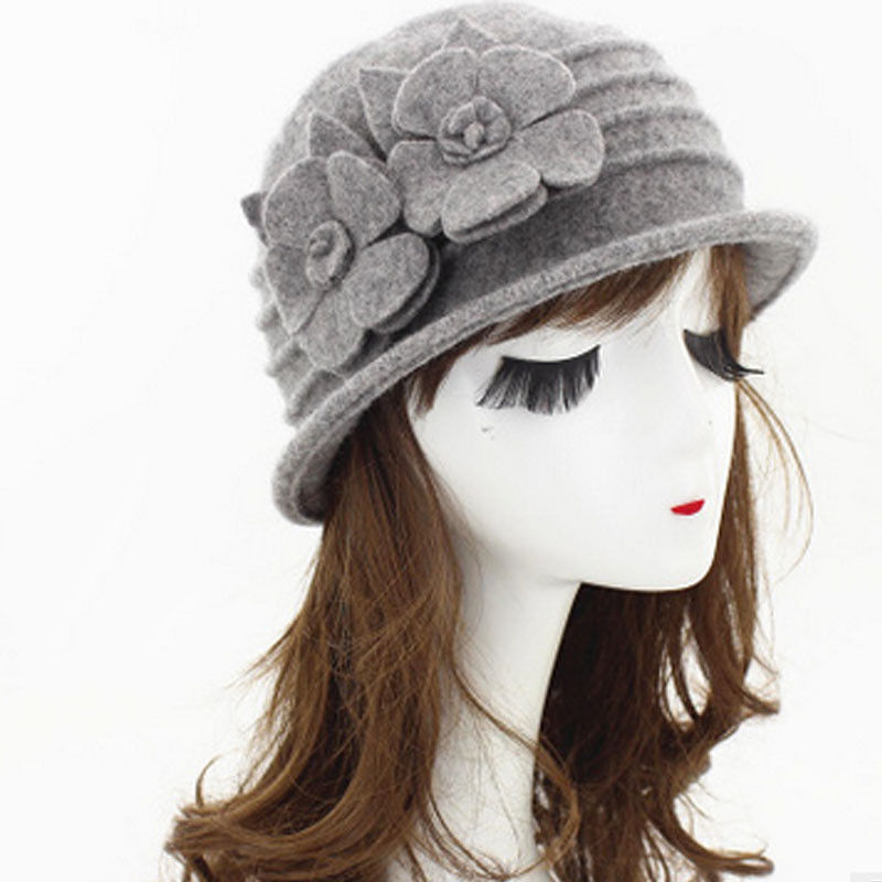 71e51d69384 Womens Ladies Floral 1920s Vintage 100% Wool Beret Beanie Cloche Bucket  Winter Hat Pink Black Gray Red Camel