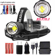 New XHP70.3/V6 LED 30W Zoom Led Headlamp 9000lm Best Brightest Powerful Head Lamp Flashlight Lantern Camping Use 18650 Battery