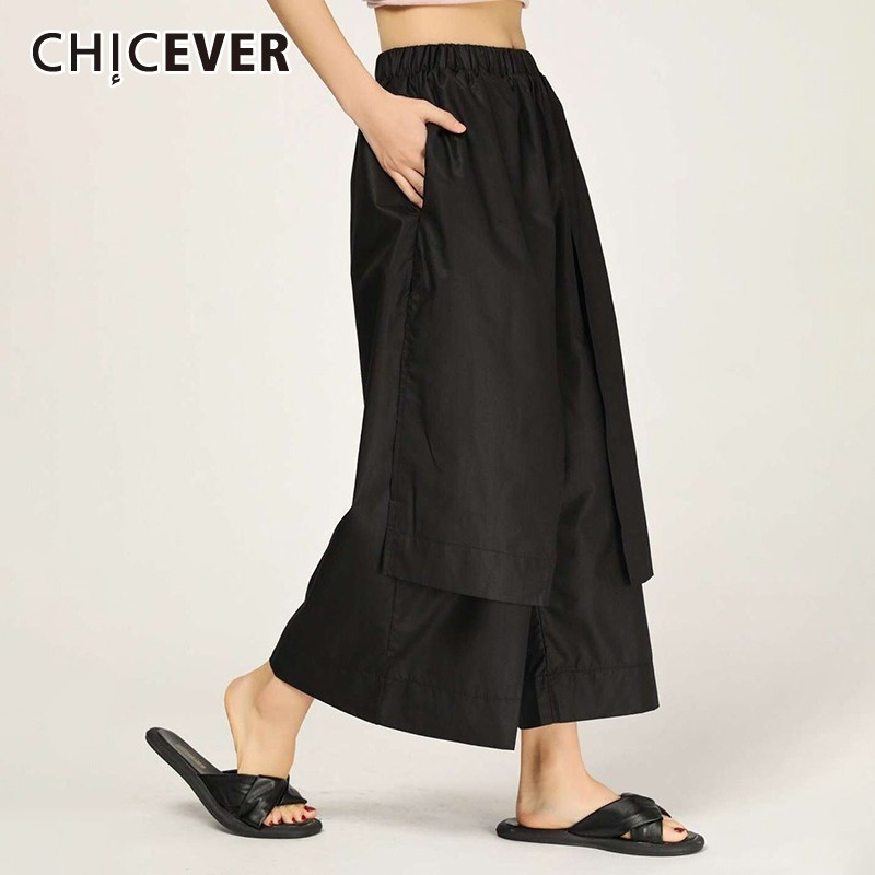 CHICEVER Pacthwork Women   Pant   Elastic Waist Pockets Mid Female Ankle-length   Wide     Leg     Pants   2019 Fashion New Tide
