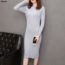Women Autumn Winter Sweater Knitted Dresses Slim Elastic Solid Long Sleeve Sexy Lady Elegant Bodycon Robe Dresses Vestidos Xnxee