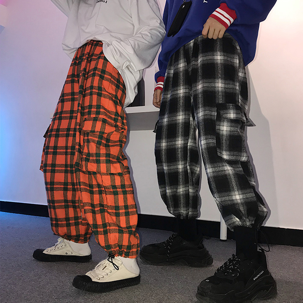 Harajuku   Capris   Women Plaid   Pants   Retro Loose Casual High Waist Plaid   Pants   With Pockets
