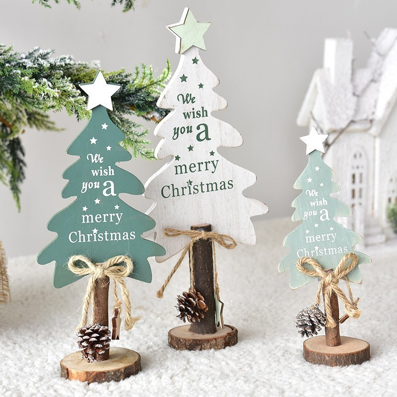 Green And White Christmas Tree: Nordic Ins Style Christmas Wood Tree White And Green Color