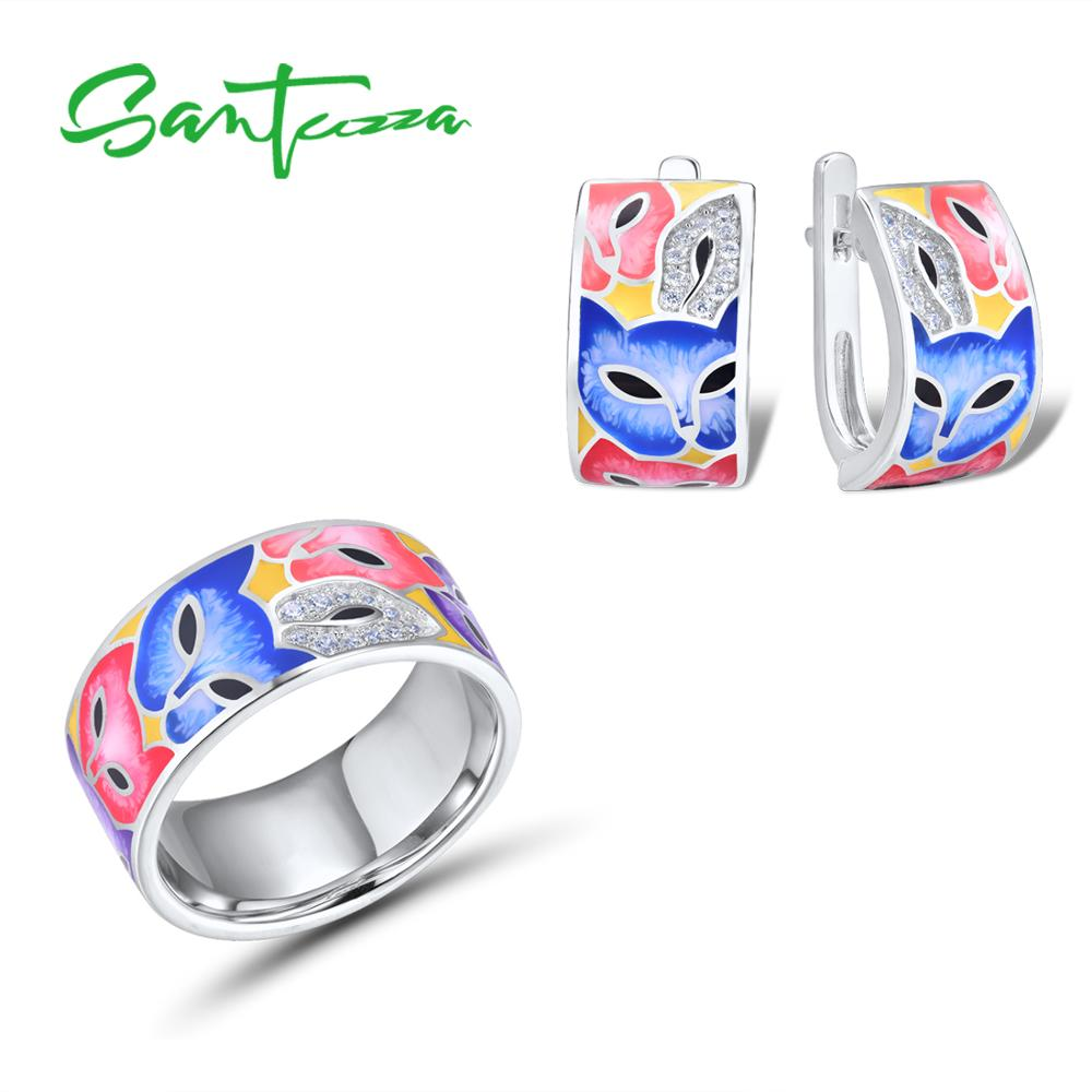 SANTUZZA Jewelry Set For Woman 925 Sterling Silver HANDMADE Colorful Enamel Cute Fox White CZ Ring Earrings Set Fashion Jewelry