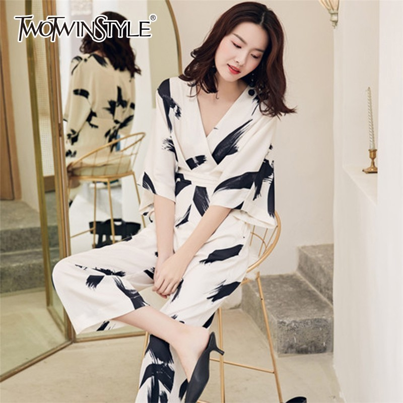 TWOTWINSTYLE Spring Print   Jumpsuits   Female V Neck Half Sleeve High Waist Ankle Length Wide Leg Pants Women 2019 Casual Fashion