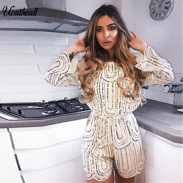 3c0e027b36c4 Summer Geometric Sequin Playsuit Women Sexy Nude Tribal Tattoo Print  Bodysuit Jumpsuit Sparkly Glitter Romper Party Overalls