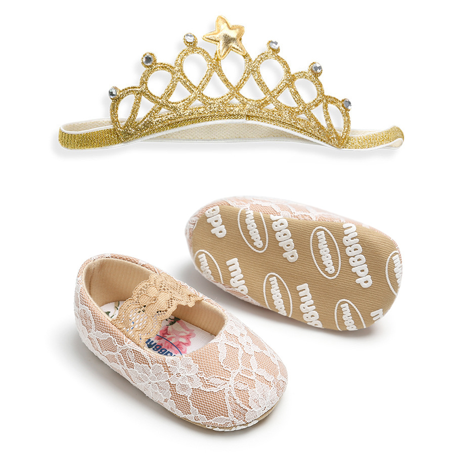 Newborn Baby Shoes Gift Set Cute Lace Princess Shoes Headband Set Infant Baby Girls First Walkers Accessories  Baby Moccasins