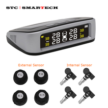 SMARTECH TPMS Solar Car tire pressure sensor with LCD display, monitoring system support Temperature Warning