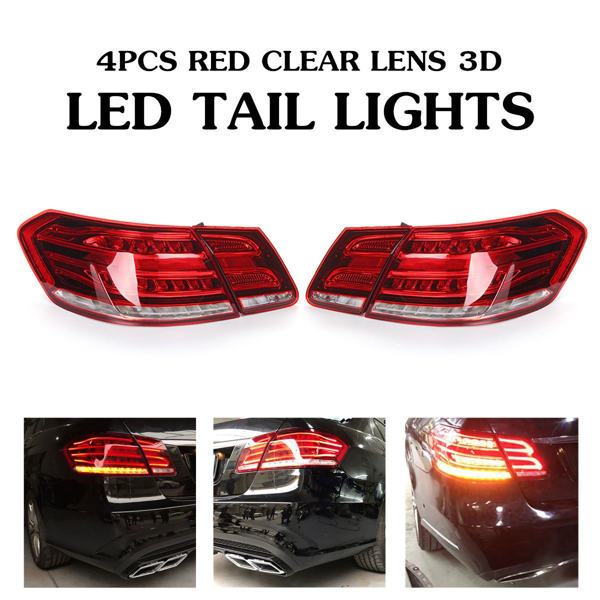 LED Tail Lights For Mercedes Benz E Class W212 E350 E300 E250 E63 Sedan Lamps ABS Direct replacement Car Light Assembly 49x19cm