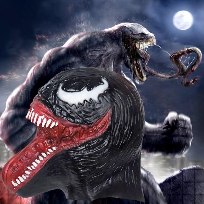 Spider-Man Venom Cosplay Mask Edward Brock Costume Headwear Halloween Latex Fancy Helmet Carnival Full Face Props Accessories