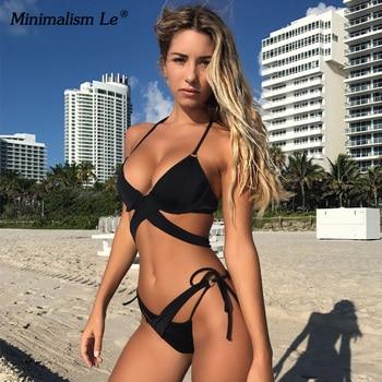 2020 Sexy Solid Swimwear Women Bikini Set Swimsuit Halter Top Bikinis Bathing Beachwear Bandage Biquini Mujer Plus Size