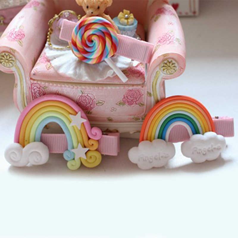 1 Pza horquillas para niños arcilla polimérica niñas cabello clips estrella colores caramelo Piruleta de arcoíris nube blanca accesorios para el cabello