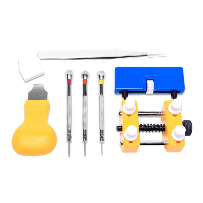 7pcs/set Watch Repair Tool Kit Pro Back Case Opener Remover Yellow Watch Back Pry Opener Watch Tools