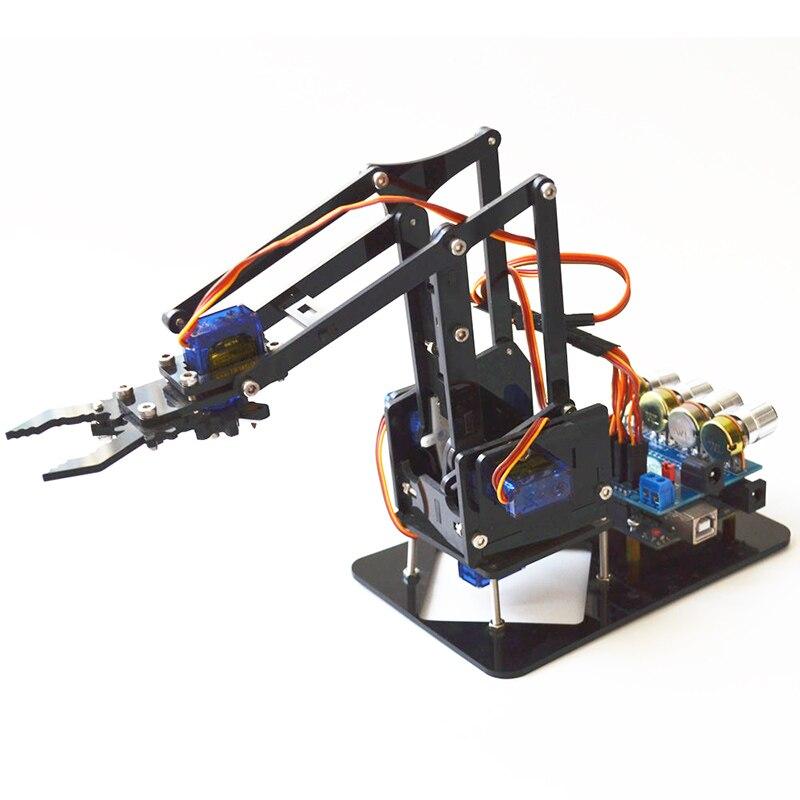 Bricolage 4DOF Robot bras 4 acrylique rotatif mécanique Robot bras avec pour Arduinos R3 4 pièces SG90 Servo