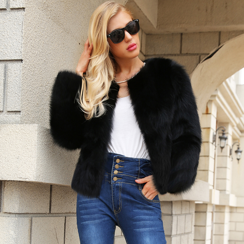 Winter Women Faux Fur Coat Solid Color Long Sleeve Fluffy Outerwear Short Jacket Hairy Warm Overcoat Fashion Fluffy Fur Jackets