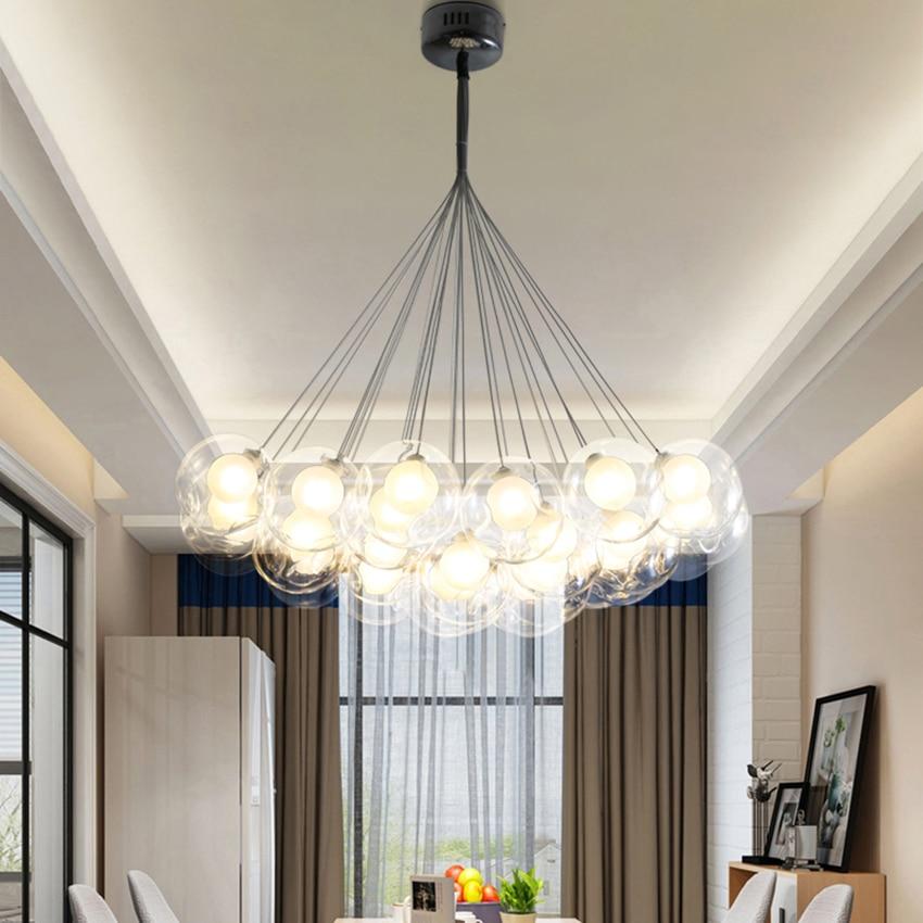 Nordic Designer Color Bubble Glass Ball Pendant Lamp Home Decoration Led Hanging Lamp Living Room Restaurant Lighting Luminaire