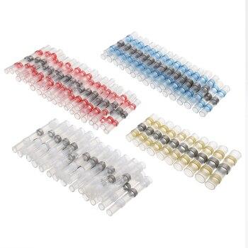 Mayitr 100 piezas 4 tamaños termorretráctil trasero conectores de cable impermeable de cobre estañado de soldadura sello terminales Kit con caja