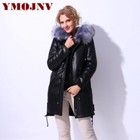 YMOJNV 2018 Russian Womens Winter Faux Sheepskin Lining Faux Fur Collar Hooded Leather Jacket Large Sizes Thick Warm Coat Parkas