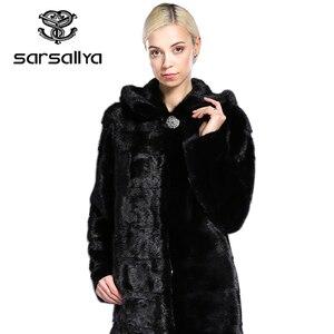 Image 2 - SARSALLYA Real Fur Style Fashion Fur Coat Genuine Leather Mandarin Collar Good Quality Mink Fur Coat Women Natural Black Coats