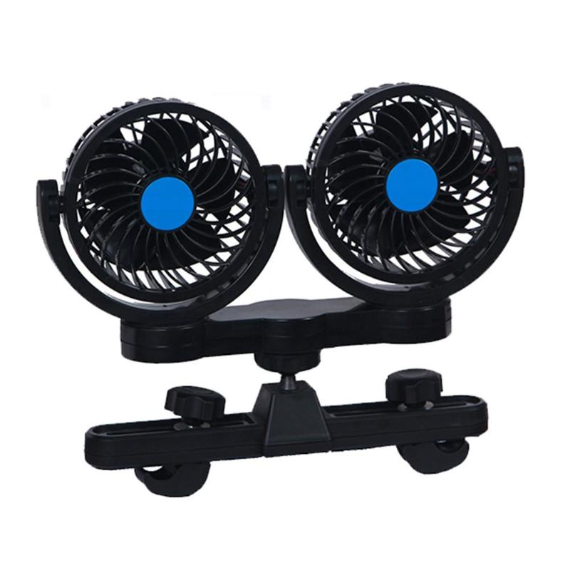 Dual Head Mini 12V Car Seat Clip Fan 360 Degree Rotating Strong Wind Air Cooler Multifunctional