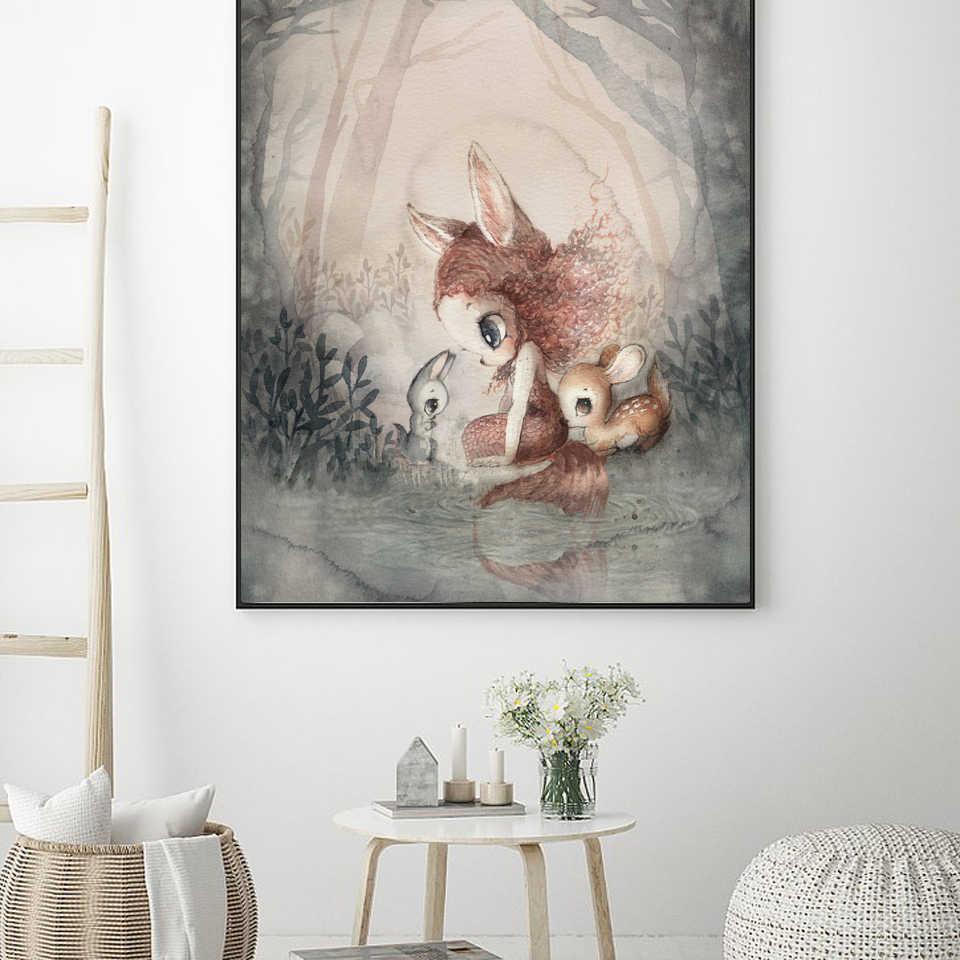 Детский интерьер для комнаты девушки настенные живописные картины плакаты и принты детская комната украшение стены мультфильм кролик Декор скандинавские холст печать