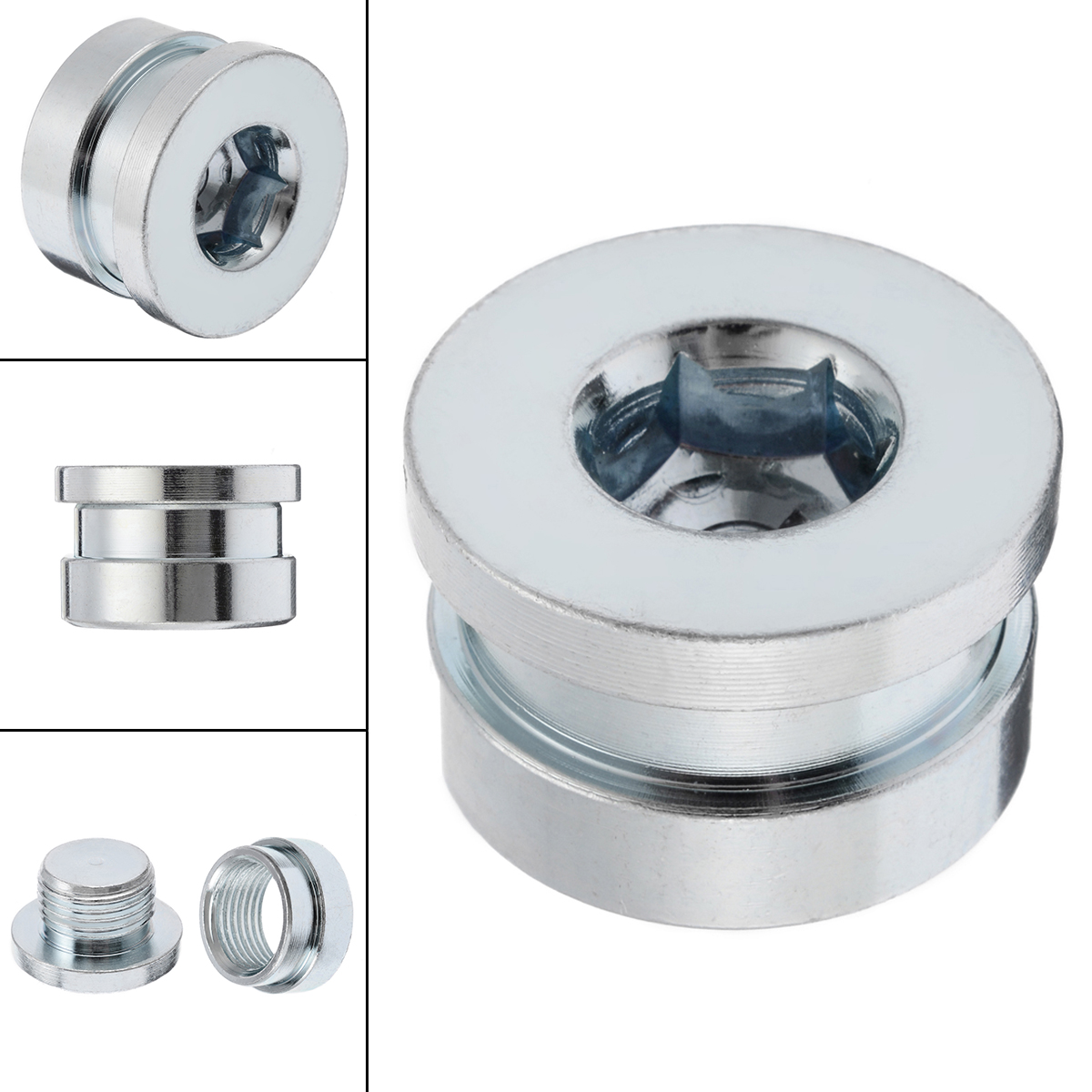 2Pcs/Set O2 Oxygen Sensor Stepped Mounting Boss And Plugs <font><b>M18</b></font> <font><b>X</b></font> <font><b>1.5</b></font> Oxygen Sensor Fittings Steel Weld Bung Accessories image