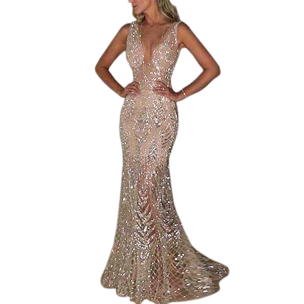 2019 New Sexy V-neck Women Maxi Dress Silver Bling Sequin Wedding Party Dress Shinny Metallic Evening Party Dresses Vestido