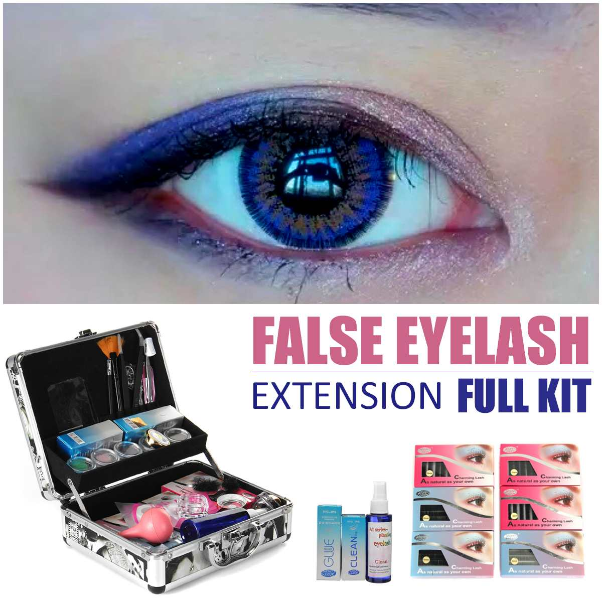 Profession False Eye Lash Salon Eyelash Extension Glue Tools Set Full Kit Makeup Case Set Eyelashes Extension Kit 2017 new double layer beauty grafting salon makeup tools false extension eyelash glue brush kit set eyelashes women beauty tool