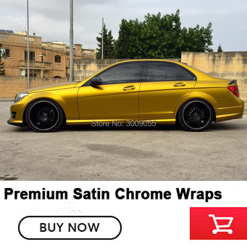 High quality dark Gold Satin Metallic Chrome Vinyl Wrapping Film For Car Sticker Bubble Free Car Wraps Foil True shoot-in Car Stickers from Automobiles & Motorcycles    1