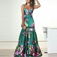 Retro Party Dress Women Floral Print Long Dress Women Strap Ladies Long Dresses Evening Pleated Summer Dress 2019 Plus Size XXXL