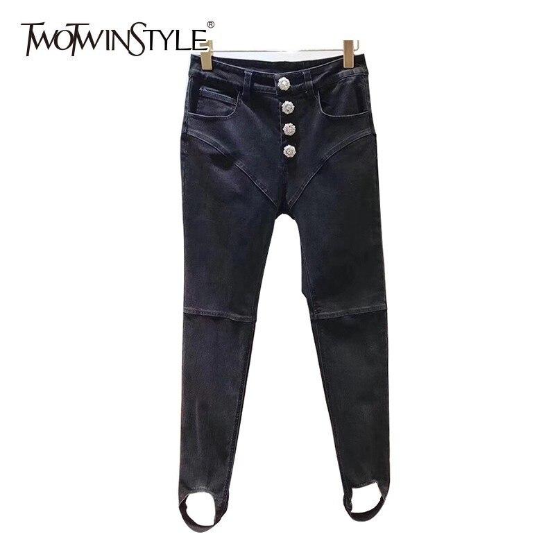 TWOTWINSTYLE Diamonds Bottoms High Waist Denim Trousers For Women Long Jeans Female Spring 2019 Fashion Streetwear