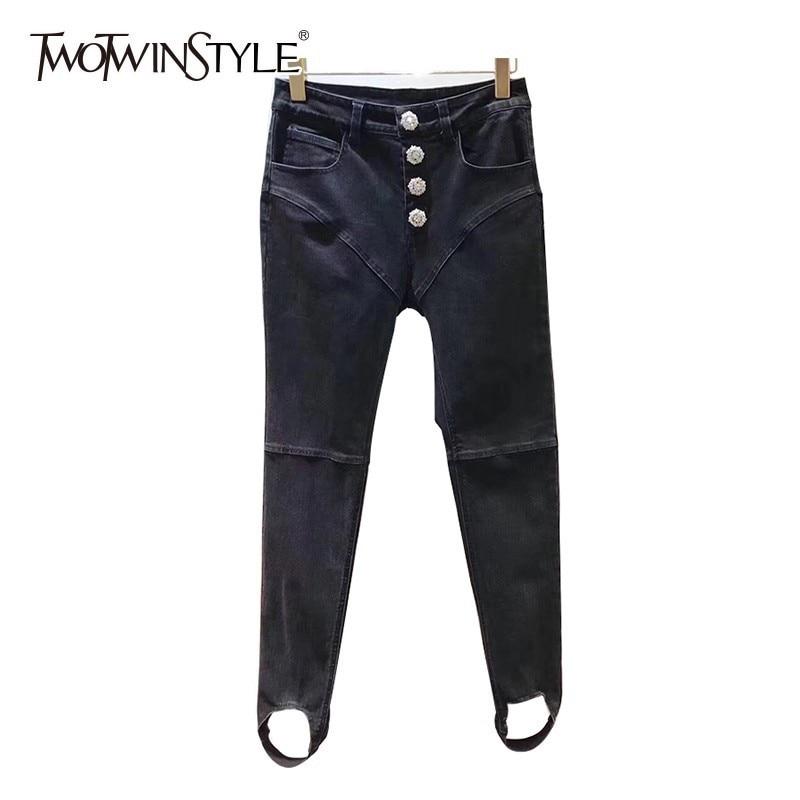TWOTWINSTYLE Diamonds Bottoms High Waist Denim Trousers For Women Long Jeans Female Spring 2019 Fashion Streetwear Tide