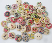 WBNOON 100pcs randomly 15mm round nature wood buttons printed designs handmade supplies